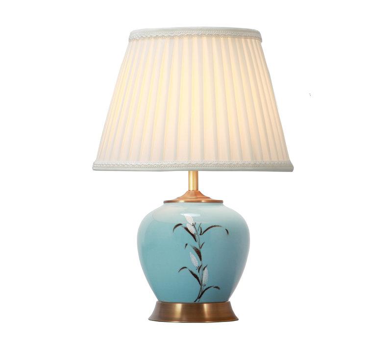 Chinese Tafellamp Witte Bloesems Bronzen Voet D36xH54cm