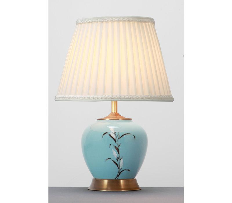 Chinesische Tischlampe Weiss Blüten Bronzebasis D36xH54cm