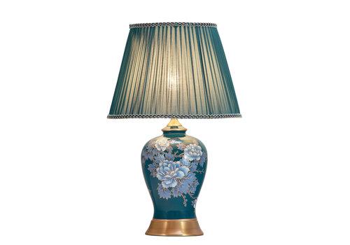 Fine Asianliving Lámpara de Mesa de Porcelana Pintada a Mano Azul Peonías Base de Bronce D.33xA53cm