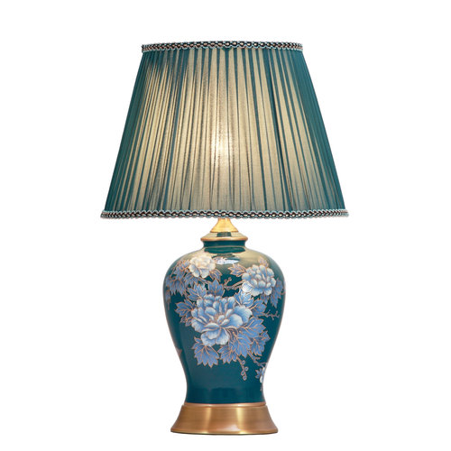 Fine Asianliving Chinese Table Lamp Handpainted Midnight Peonies Bronze Base D33xH53cm