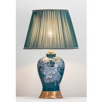 Chinese Tafellamp Handgeschilderde Pioenrozen Bronzen Voet D33xH53cm