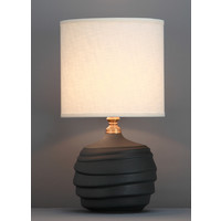 Chinese Table Lamp Relief Matte Black D30xH56cm