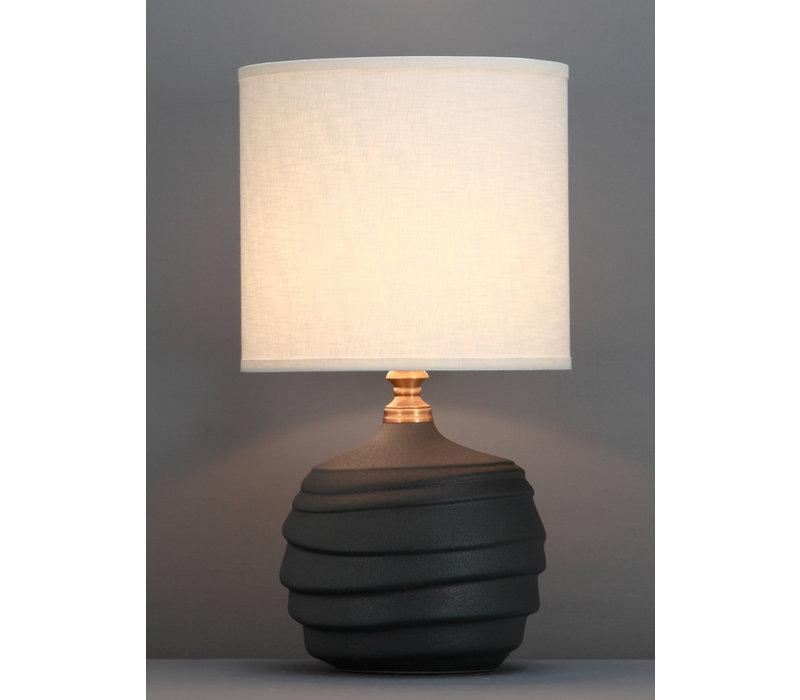 Chinese Tafellamp Reliëf Mat Zwart D30xH56cm