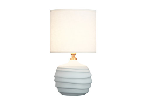 Fine Asianliving Chinese Table Lamp Relief Matte White D30xH56cm
