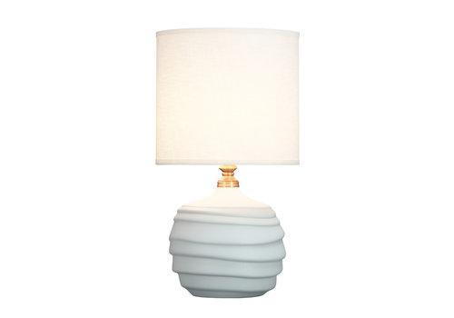 Fine Asianliving Lámpara de Mesa de Porcelana Alivio Blanco Mate D.30xA56cm