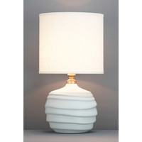 Chinese Table Lamp Relief Matte White D30xH56cm