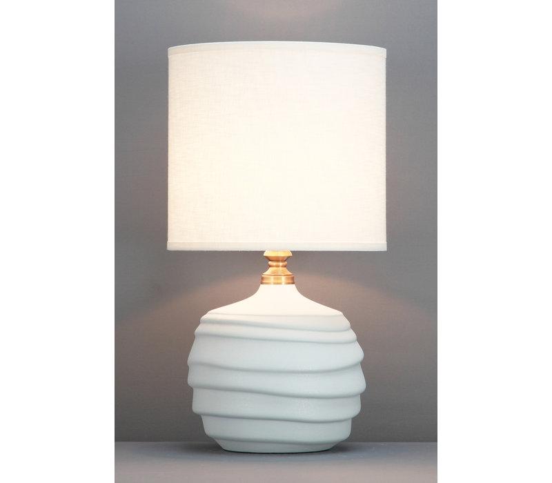 Lampada da Tavolo Cinese Rilievo Bianca Opaco D30xA56cm
