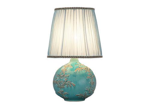 Fine Asianliving Lampe de Table en Porcelaine Chinoise Relief Fleur de Lis D.25xH42cm