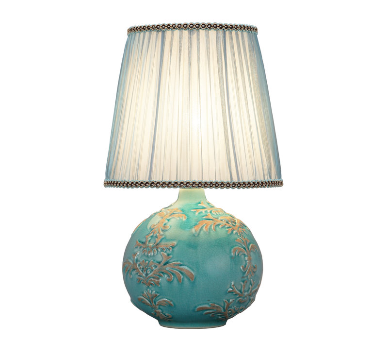 Chinese Tafellamp Reliëf Fleur de Lis D25xH42cm