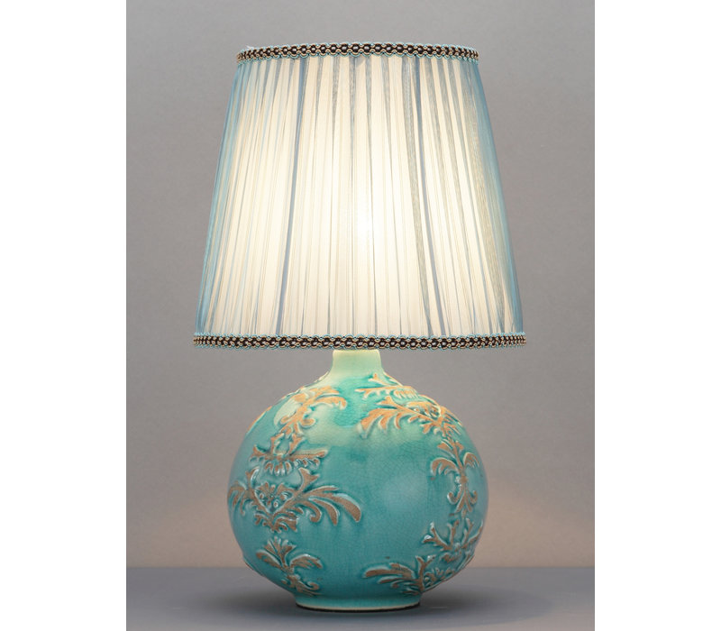 Chinesische Tischlampe Relief Fleur de Lis D25xH42cm