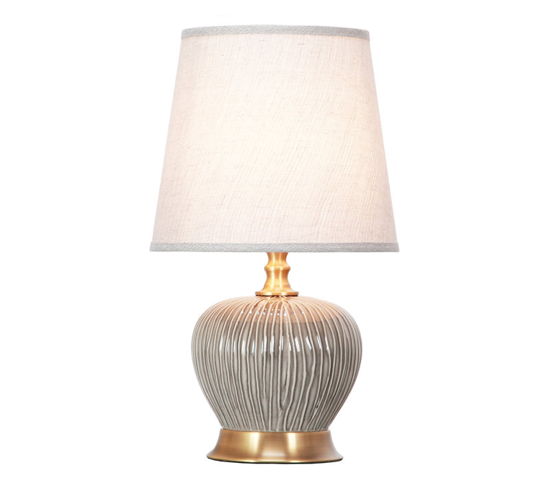 Table Lamp Porcelain with Lampshade Dark Grey