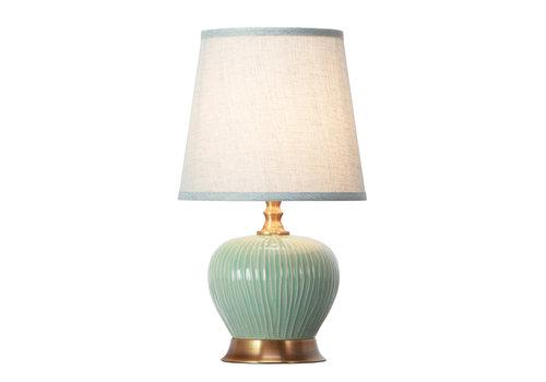 Fine Asianliving Lámpara de Mesa de Porcelana con Pantalla Menta