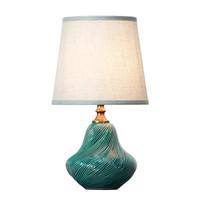 Chinesische Tischlampe Porzellan mit Schirm Blau Kunst