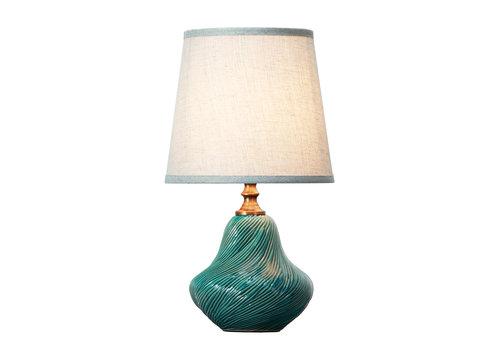 Fine Asianliving Lámpara de Mesa de Porcelana con Pantalla Azul Arte