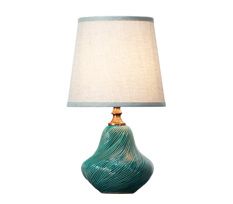Table Lamp Porcelain with Lampshade Teal Art