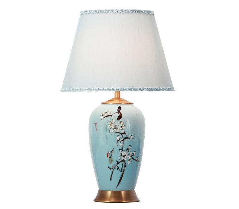Chinesische Tischlampe Porzellan mit Schirm Handbemalt Blau Blüten