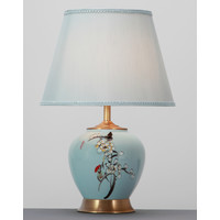 Chinese Table Lamp Porcelain Blue Handpainted with Lampshade