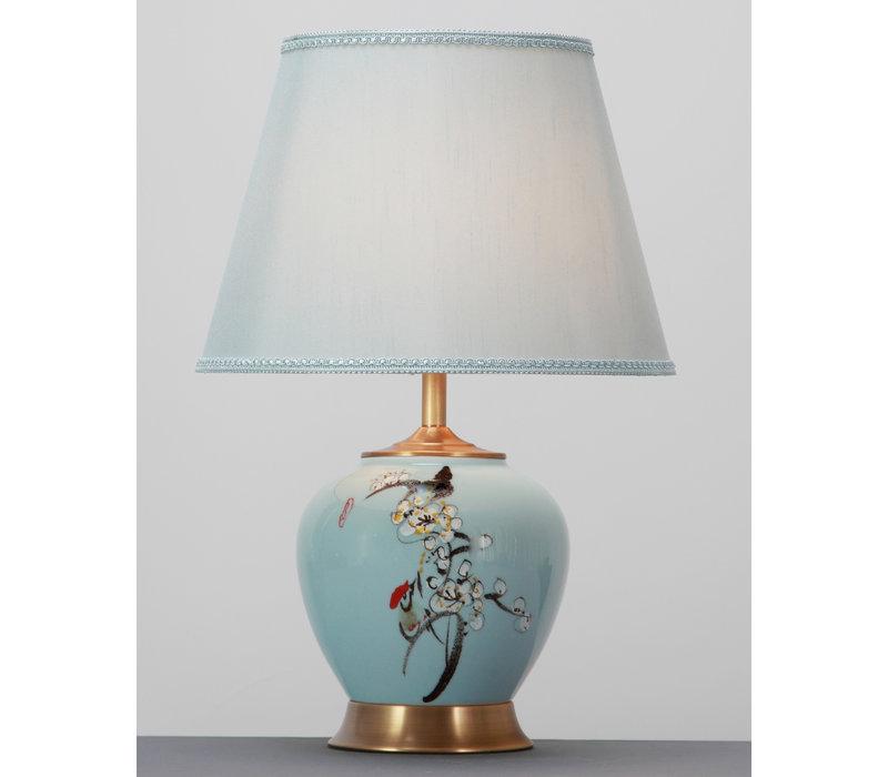 Chinese Tafellamp Keramiek Porselein met Kap Handgeschilderd