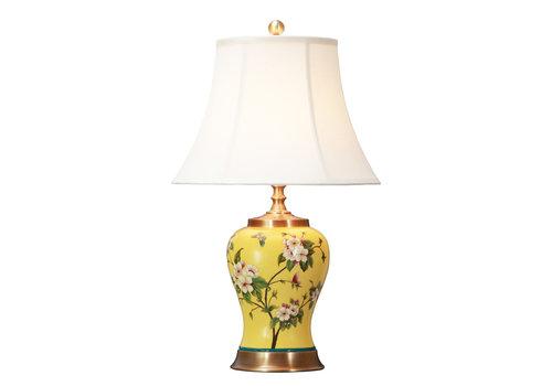 Fine Asianliving Lampe de Table en Porcelaine Chinoise avec Abat-jour Peinte à la Main Jaune D.41xH66cm