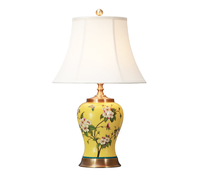 Chinese Tafellamp Porselein Handgeschilderd Geel D41xH66cm