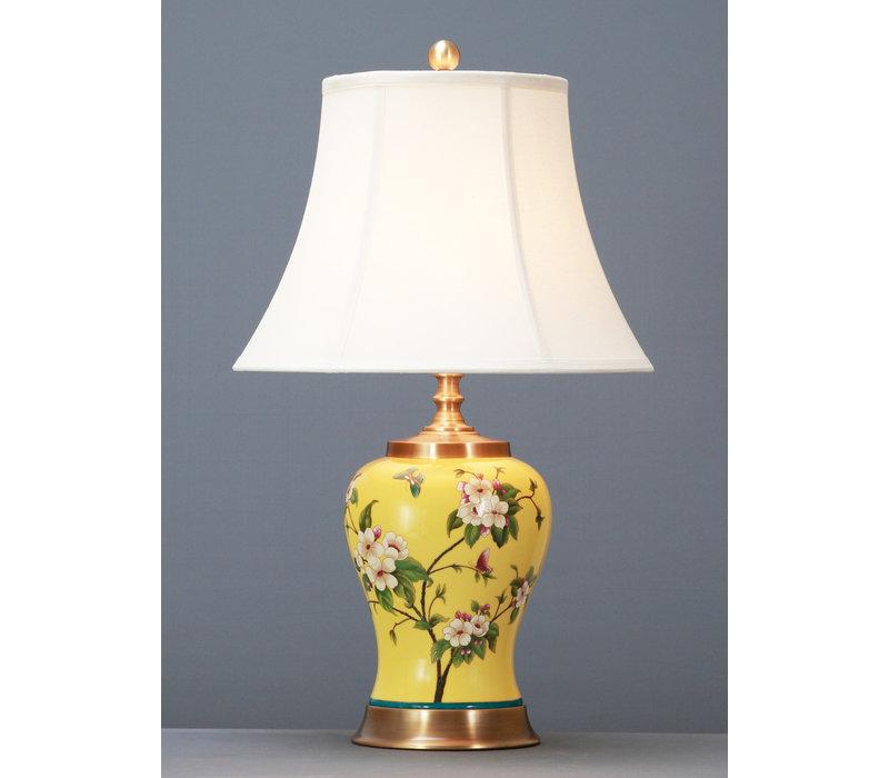 Chinesische Tischlampe Porzellan mit Schirm Handbemalt Gelb D41xH66cm