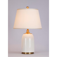 Chinese Table Lamp Porcelain with Lampshade Contemporary White