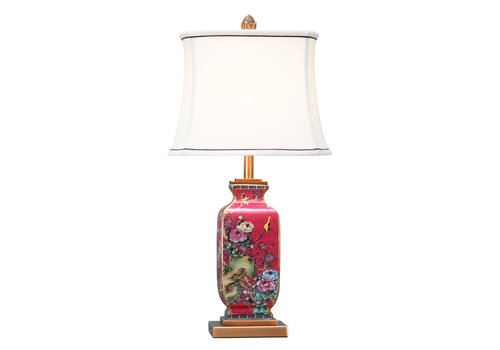 Fine Asianliving Chinese Table Lamp Porcelain with Lampshade Red Hand-painted