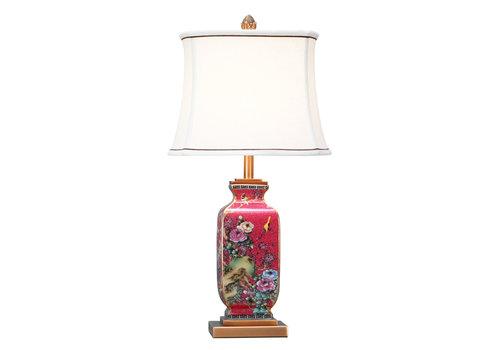 Fine Asianliving Lámpara de Mesa de Porcelana China con Pantalla Pintada a Mano Roja