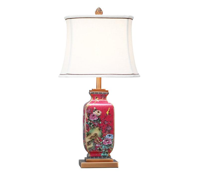 Chinesische Tischlampe Porzellan mit Schirm Handbemalt Rot