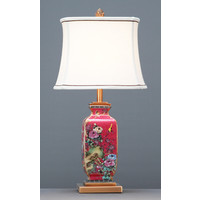 Chinese Table Lamp Porcelain with Lampshade Red Hand-painted