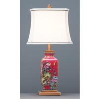 Lámpara de Mesa de Porcelana China con Pantalla Pintada a Mano Roja