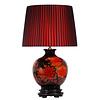 Fine Asianliving Oosterse Tafellamp Porselein Rode Pioenen Zwart
