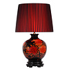 Fine Asianliving Oriental Table Lamp Porcelain Black with Red Flowers Large