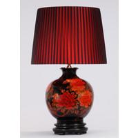 Oosterse Tafellamp Porselein Rode Pioenen Zwart
