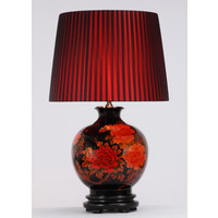 Oriental Table Lamp Porcelain Black with Red Flowers Large