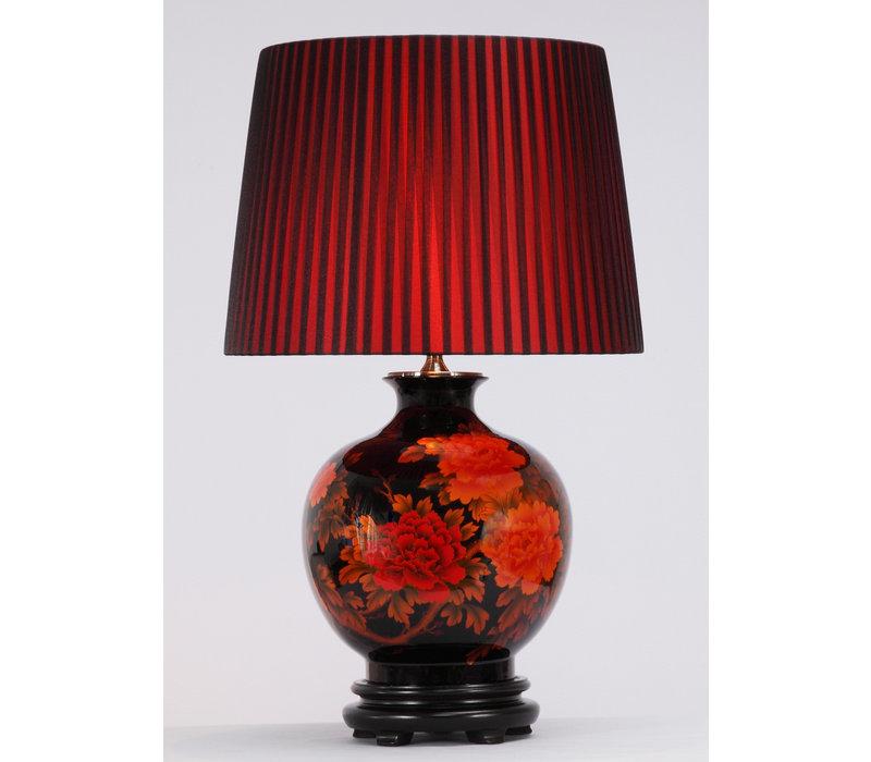 Chinese Tafellamp Porselein Rode Pioenen Zwart