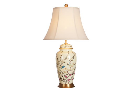 Fine Asianliving Lampe de Table en Porcelaine Chinoise Crème Branches de Fleurs