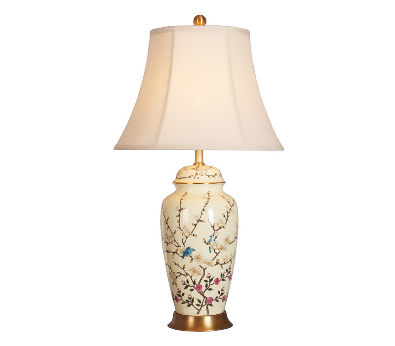 Oriental Table Lamp Porcelain Creme with Flower Branches