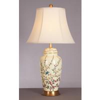 Oosterse Tafellamp Porselein Creme met Bloementakken