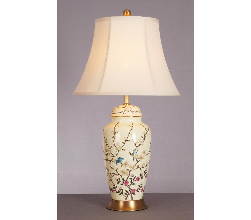 Chinese Tafellamp Porselein Creme met Bloementakken