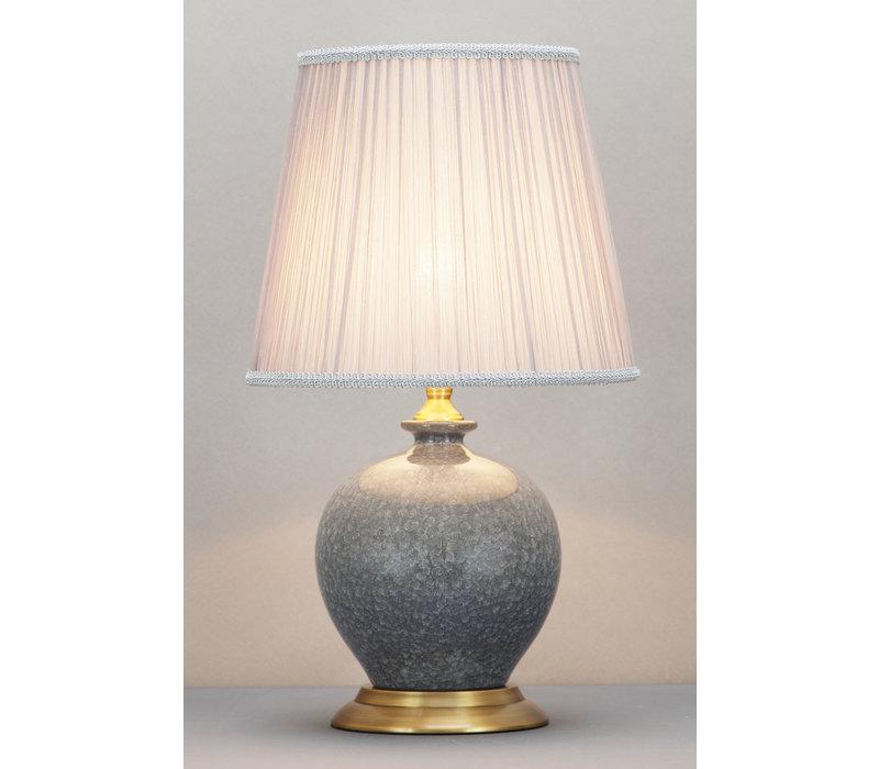 Chinesische Tischlampe Porzellan mit Schirm Grau
