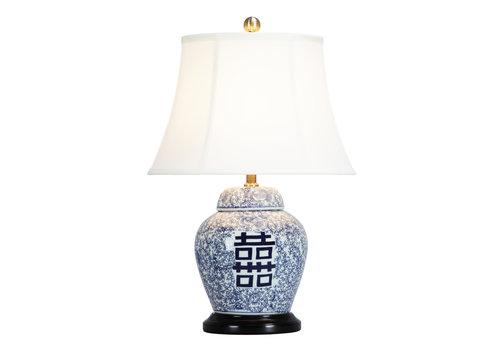 Fine Asianliving Lampada da Tavolo Cinese in Porcellana con Paralume Doppia Fortuna