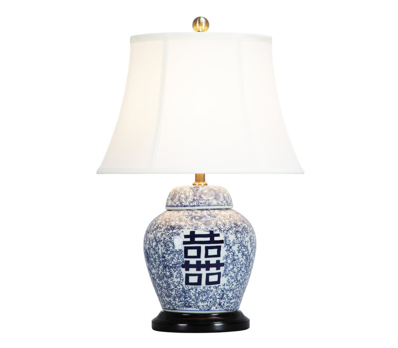 Chinese Table Lamp Porcelain with Lampshade Double Luck