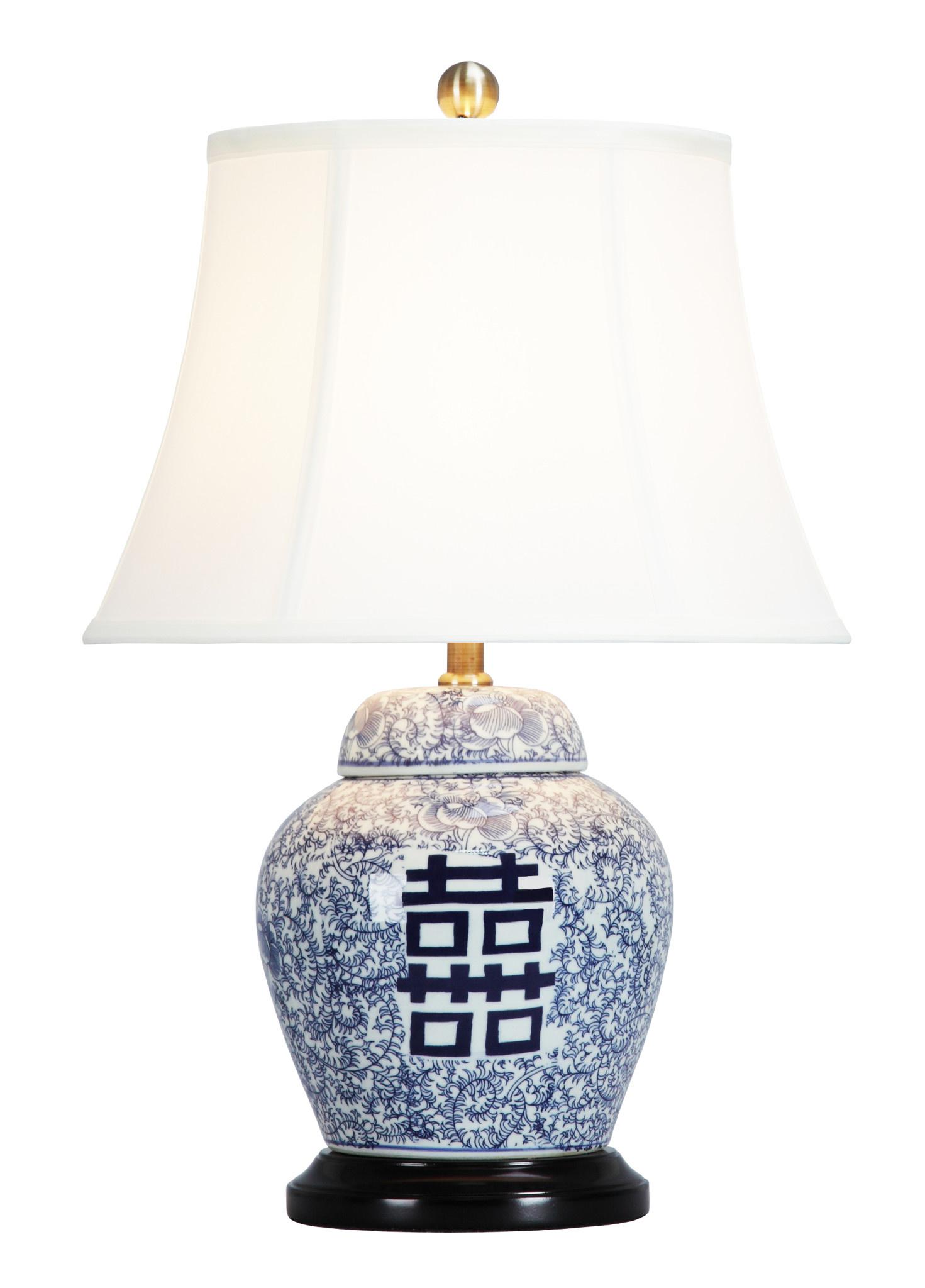 Fine Asianliving Lampada Da Tavolo In Porcellana Cinese Con Paralume D Orientique Asianliving