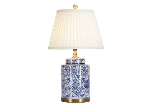 Fine Asianliving Oosterse Tafellamp Porselein Blauw Wit Art