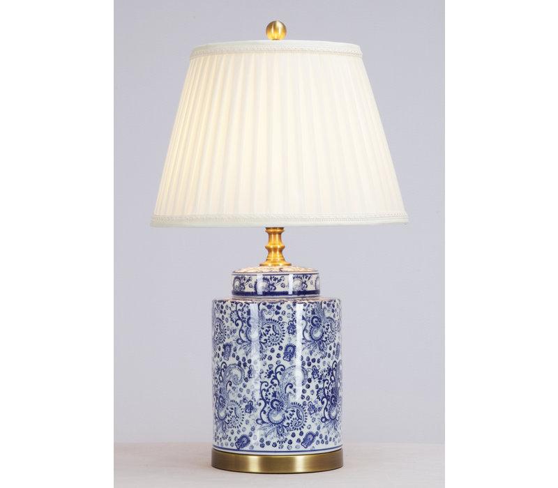 Chinesische Tischlampe Porzellan mit Schirm Kunst