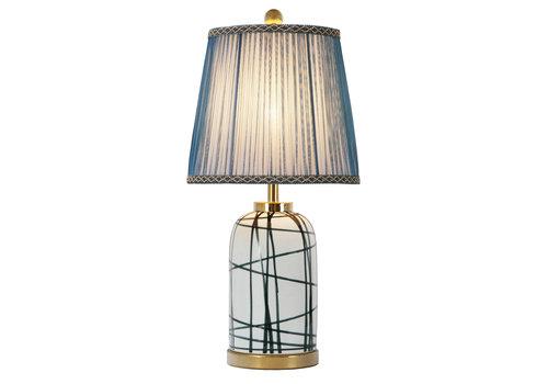 Fine Asianliving Lampe de Table en Porcelaine Chinoise Contemporaine Base en Bronze D.28xH57cm