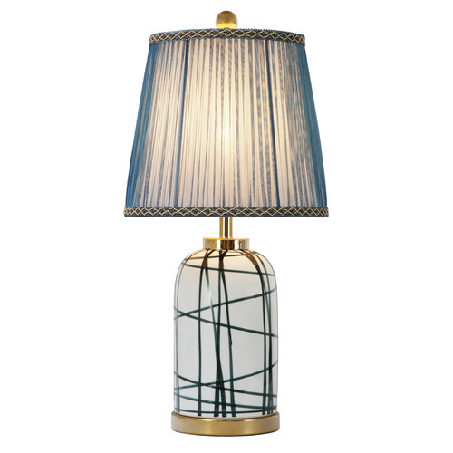 Fine Asianliving Chinese Table Lamp Contemporary Bronze Base D28xH57cm