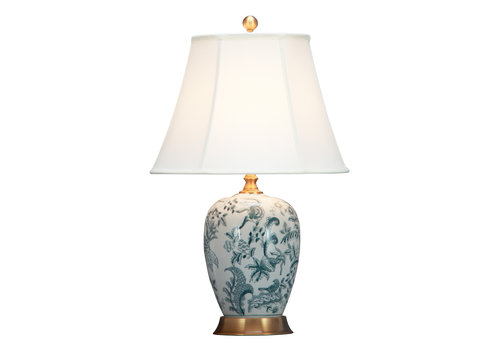 Fine Asianliving Chinese Table Lamp Off White Botanic Garden D41xH66cm