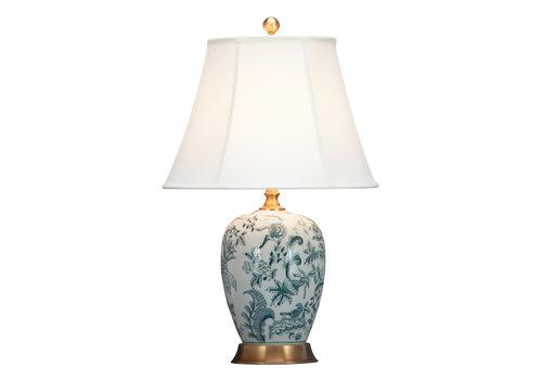Fine Asianliving Lámpara de Mesa de Porcelana Blanquecina Arte Botánico D.41xA66cm